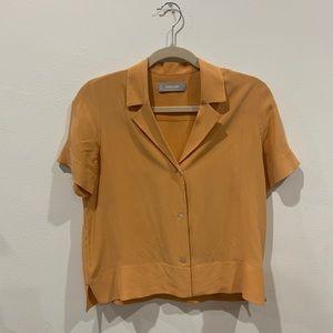 Everlane Clean Silk Short Sleeve Top Orange 00